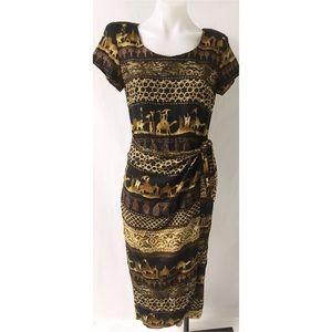 Vintage Brown & Black Dress Small